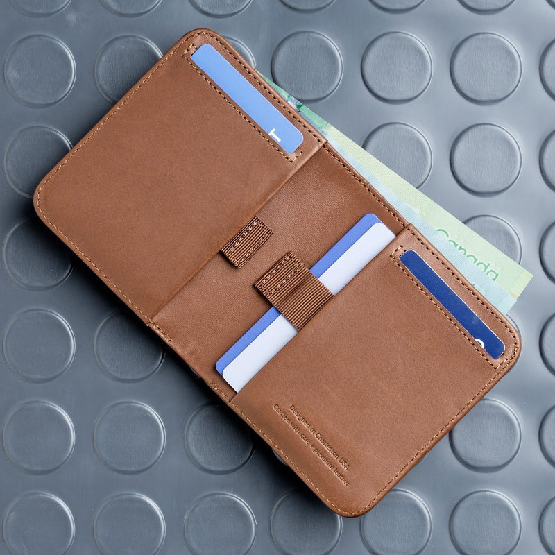 opened distil wally agent slim billfold wallet laid flat with cards and money inside wallet