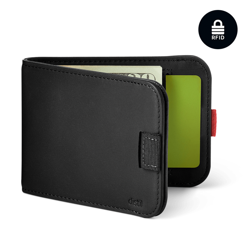 distil wally bifold slim black leather pull-tab wallet with RFID shielding and interior card pockets