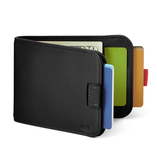 distil wally bifold slim leather wallet with two pull-tabs and interior card pocket