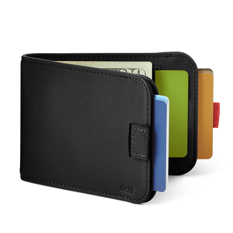 distil black wally bifold slim leather wallet with two pull-tabs exposing cards