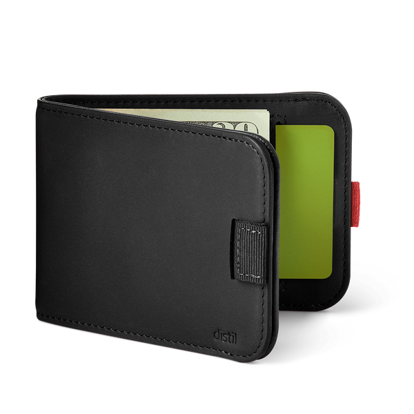 distil wally bifold slim leather wallet with black pull-tab and interior card pockets
