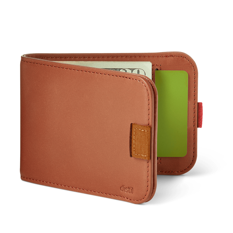 distil wally bifold slim wallet with pull-tabs and interior card pockets in brown leather