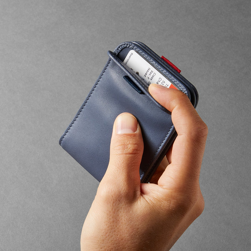 distil wally bifold slim wallet in navy leather featuring hinged leather pocket with magnetic closure
