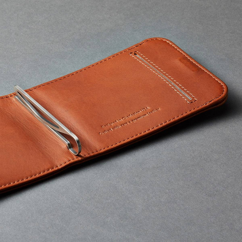 distil wally bifold slim wallet in brown leather with custom-designed stainless-steel money clip