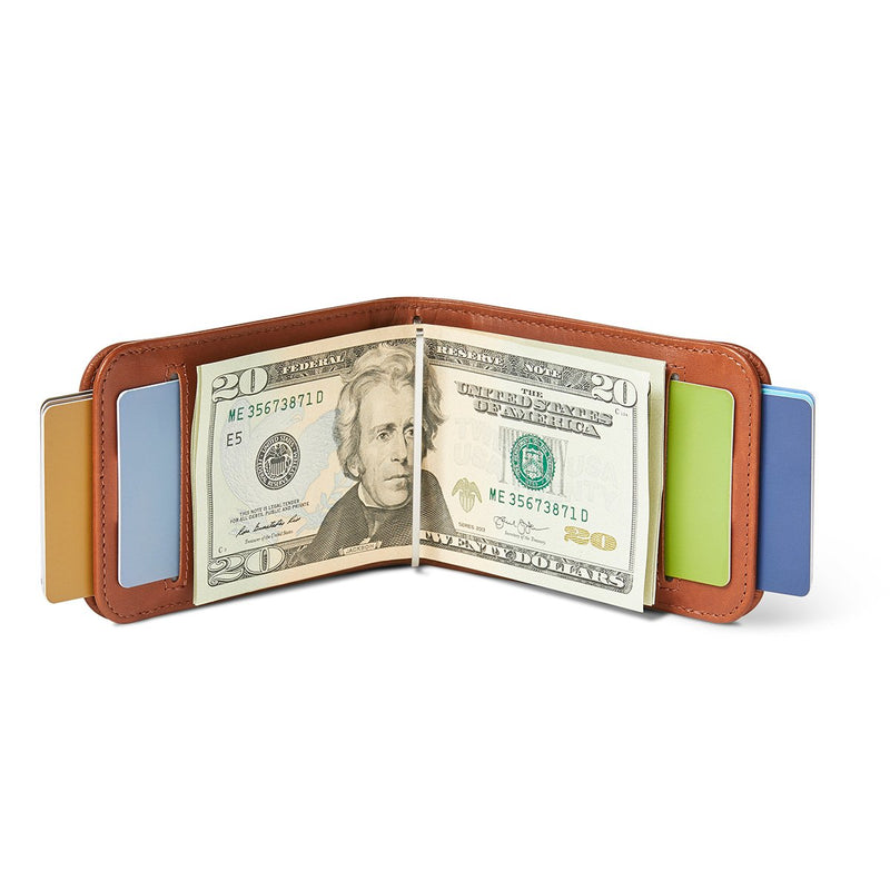 open distil wally bifold wallet with moneyclip holding US bills and cards exposed