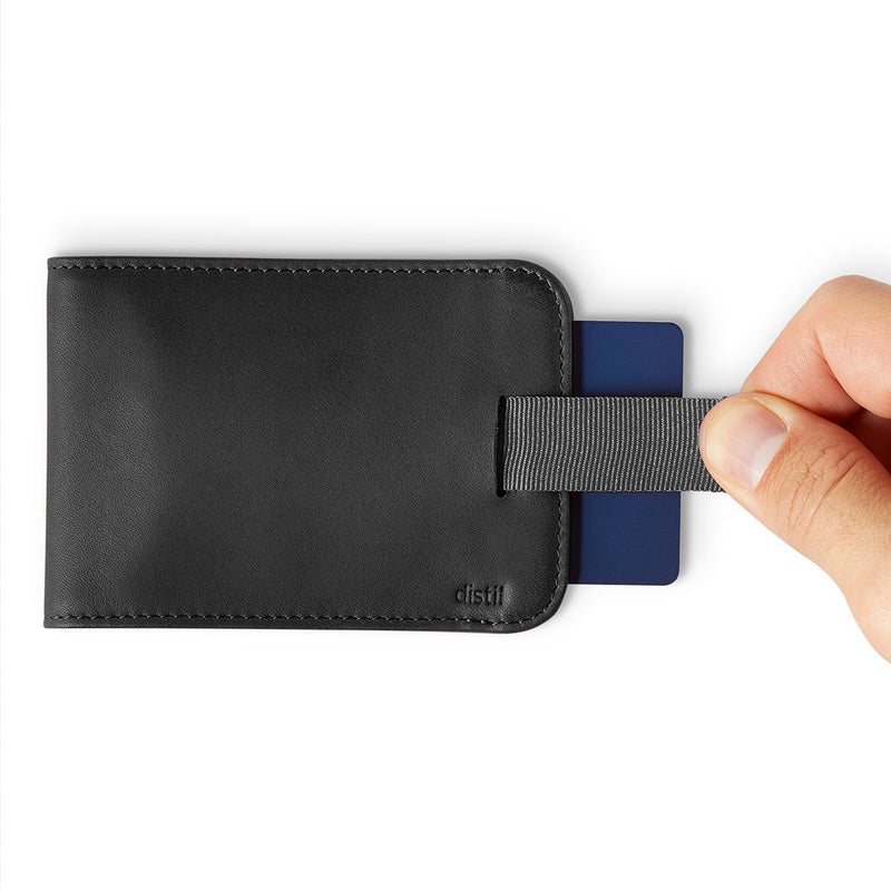 distil wally bifold slim wallet in black leather with pull-tabs to reveal hidden and secure cards
