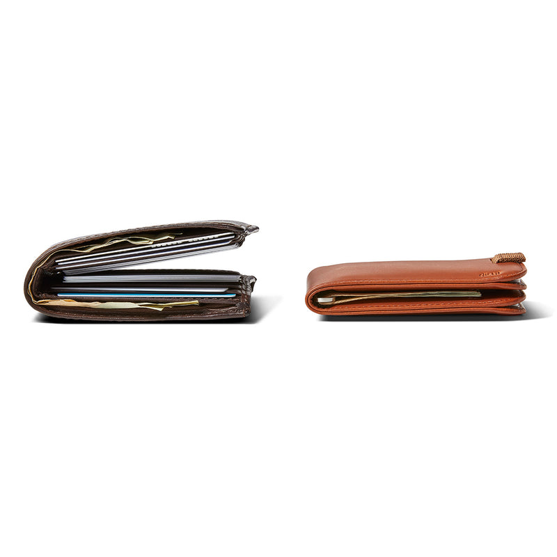 side by side size comparison of regular wallet and distil wally bifold slim wallet