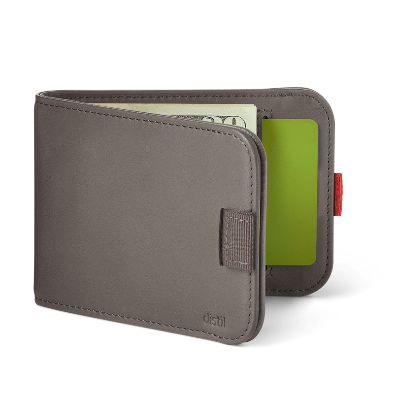 distil wally bifold slim wallet with pull-tabs and interior card pockets in gray leather
