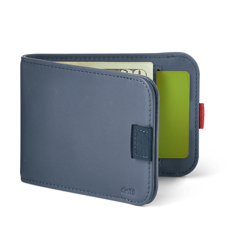 distil wally bifold slim wallet with pull-tabs and interior card pockets in navy blue leather