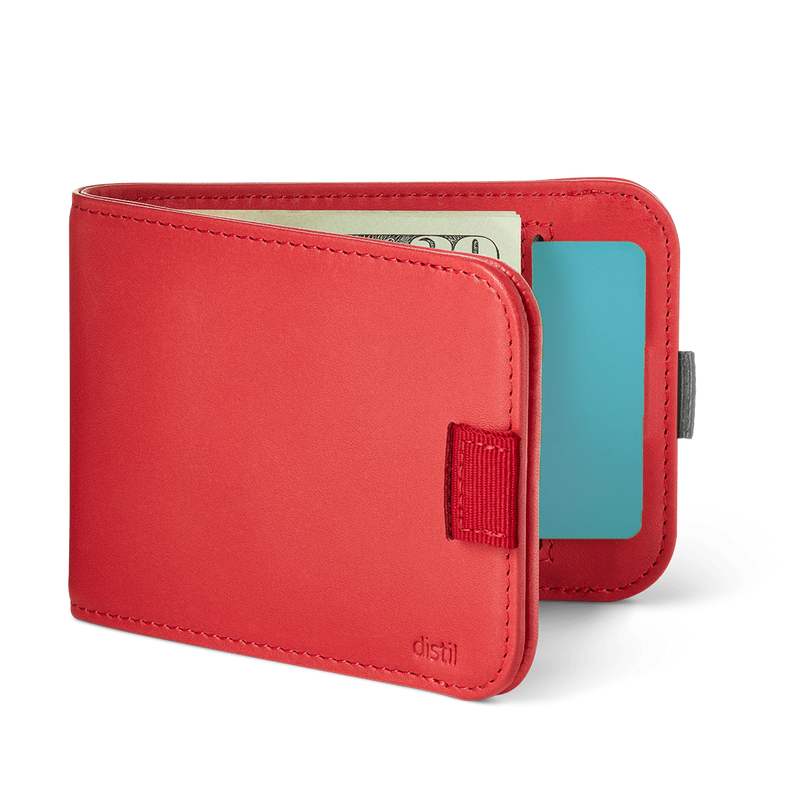 distil wally bifold slim wallet with pull-tabs and interior card pockets in rouge red leather