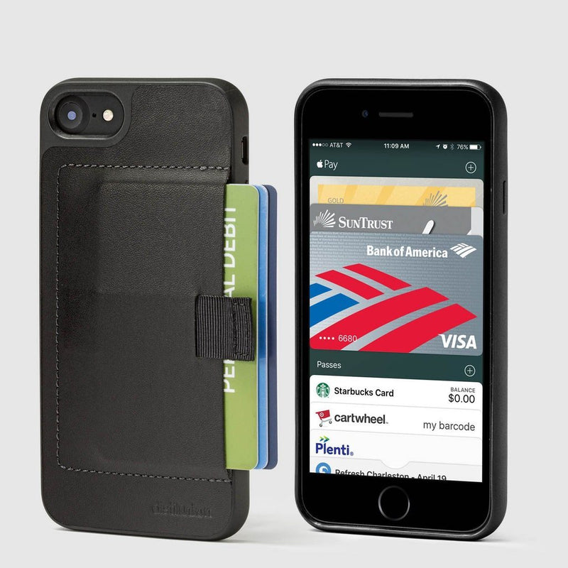 front and back view of distil ink wallet case for the iphone with pull-tab withdrawing cards