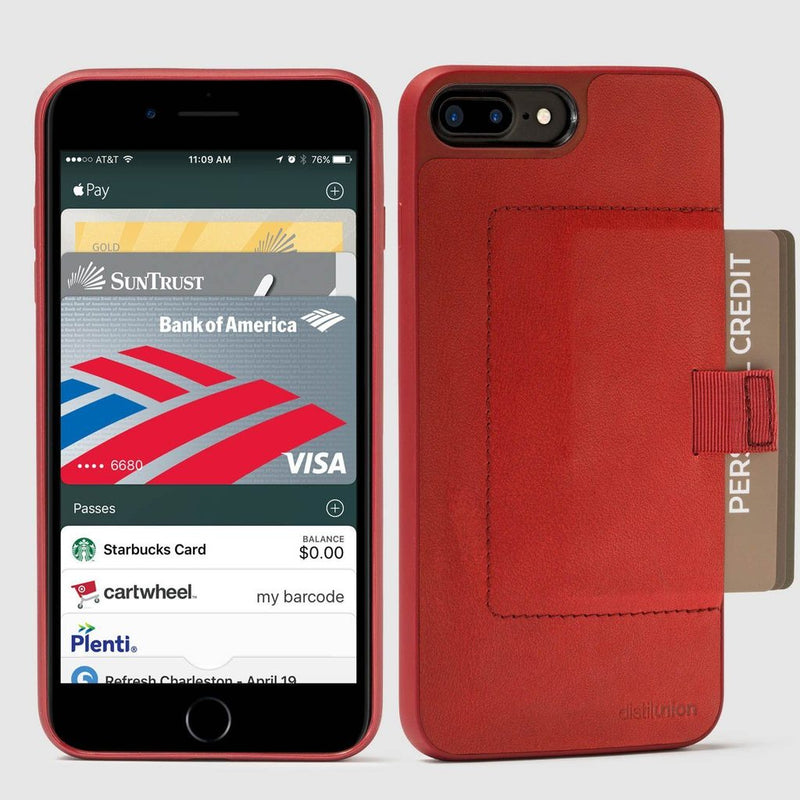front and back view of distil red wally case for iphone 7/8 with red pull-tab