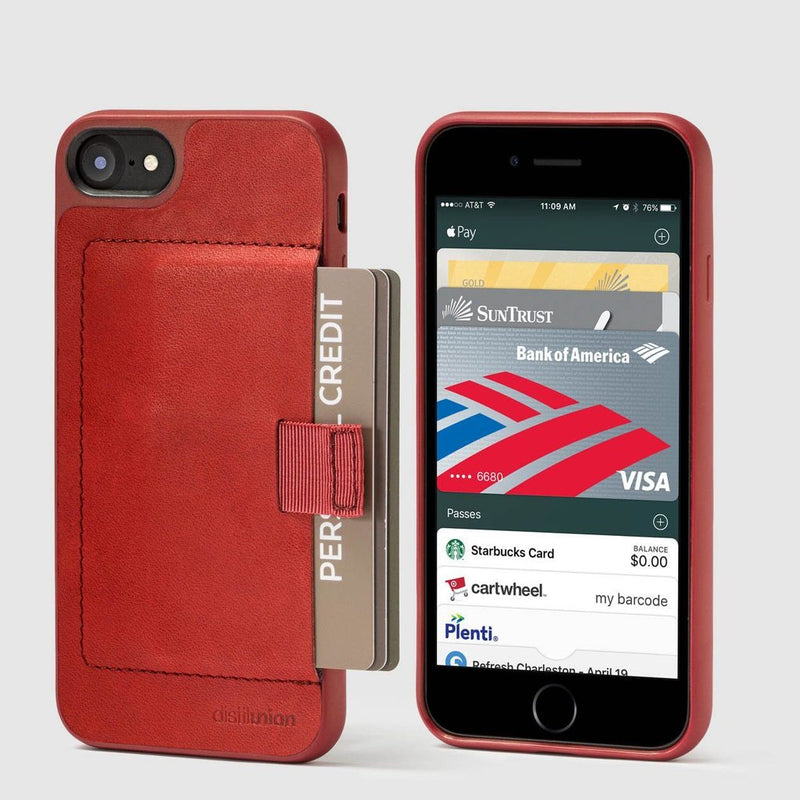 front and back view of distil red wally case for iphone 6/6s with red pull-tab