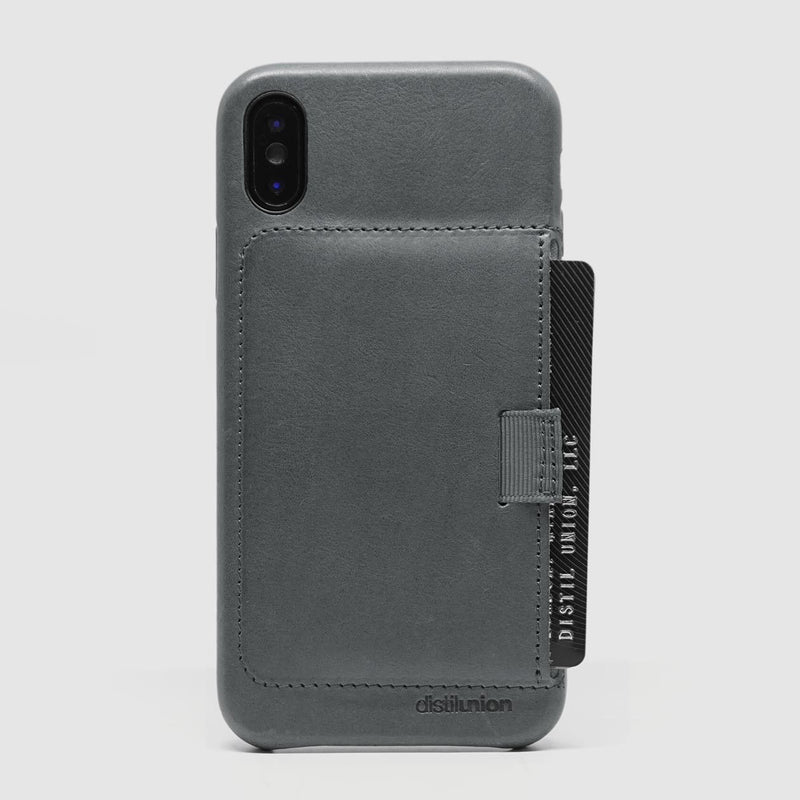 back view of distil slate leather wally case for iphone x with protruding black credit card