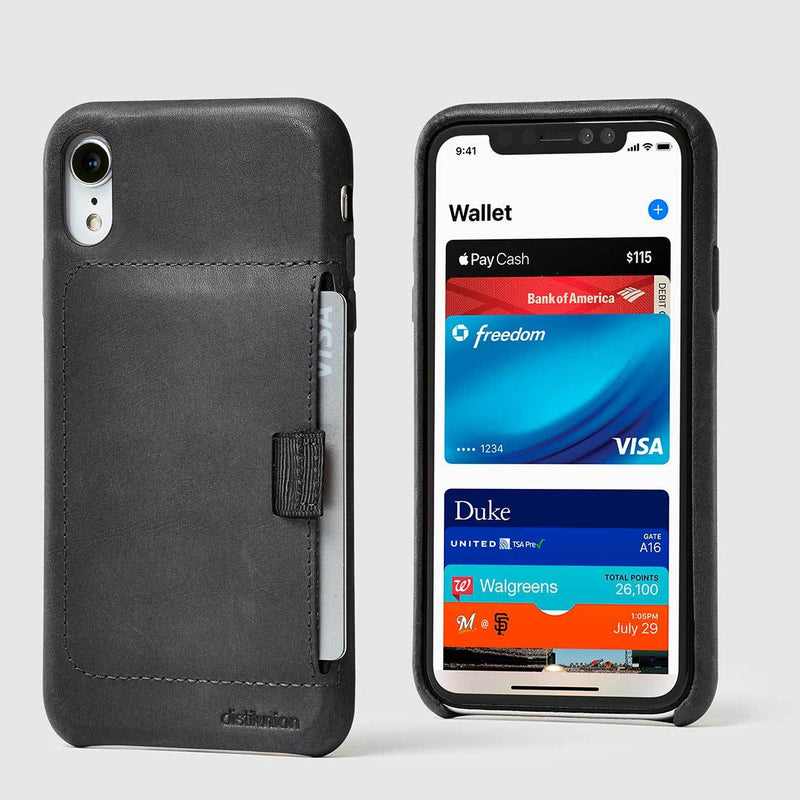 front and back view of black leather wally XR case with pull-tab pulling out grey card