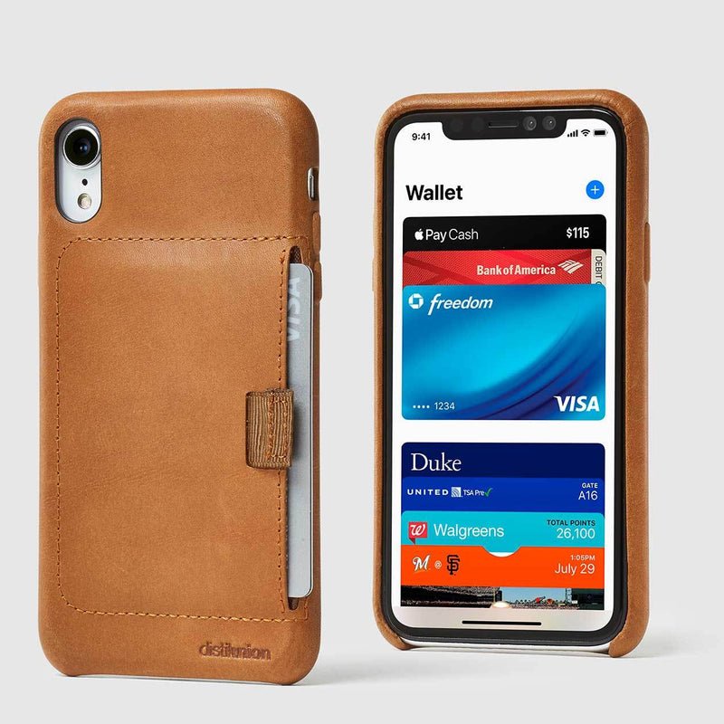 front and back view of tan leather wally XR case with pull-tab pulling out grey card