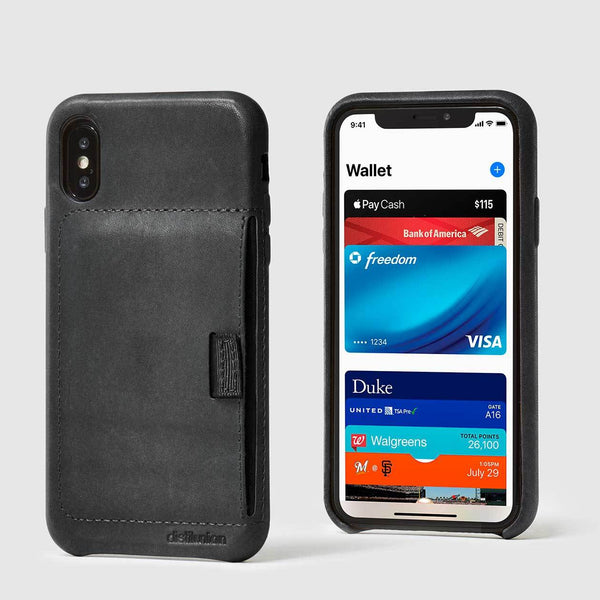 front and back view of iphone x/xs black leather wally case with black pull-tab