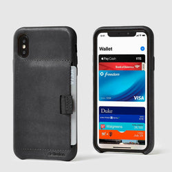 front and back view of black leather wally case x with pull-tab pulling out grey card