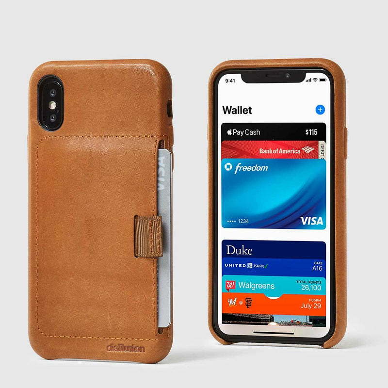 front and back view of tan leather wally case x with pull-tab pulling out grey card