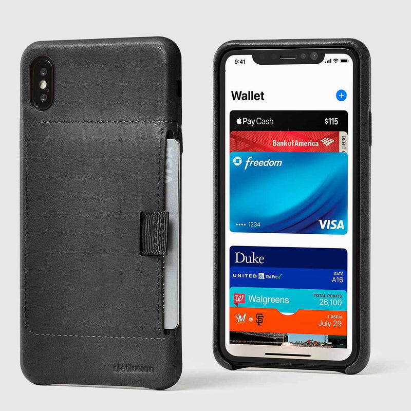 front and back view of black leather wally XS Max case with pull-tab withdrawing grey card