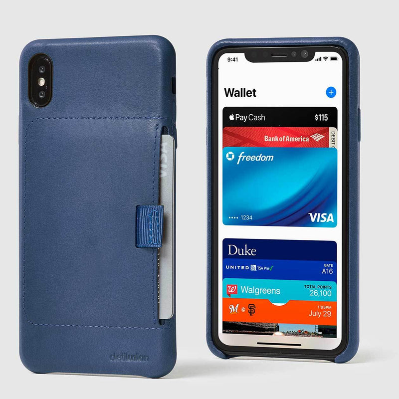 front and back view of marine leather wally XS Max case with pull-tab withdrawing grey card