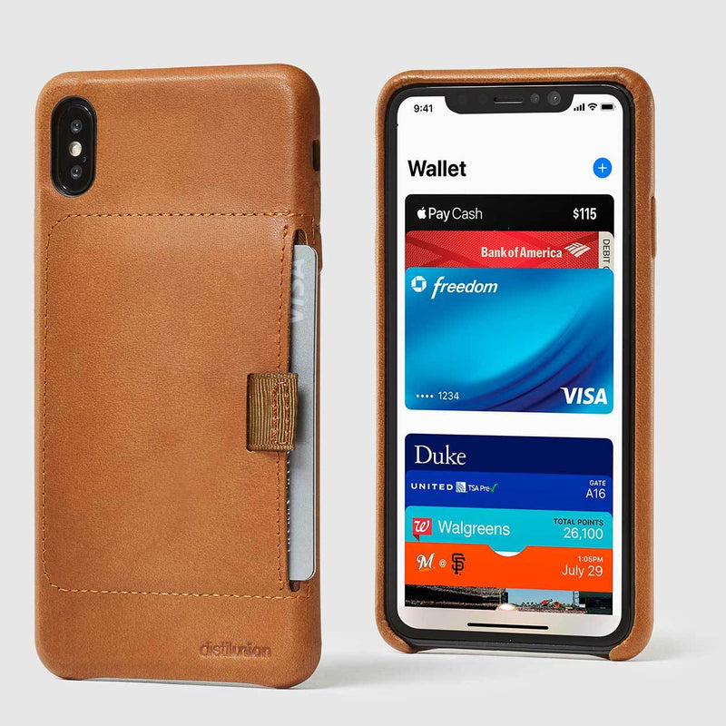 front and back view of tan leather wally XS Max case with pull-tab withdrawing grey card