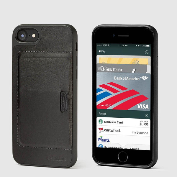 front and back view of distil ink wally case for the iphone featuring pull-tab