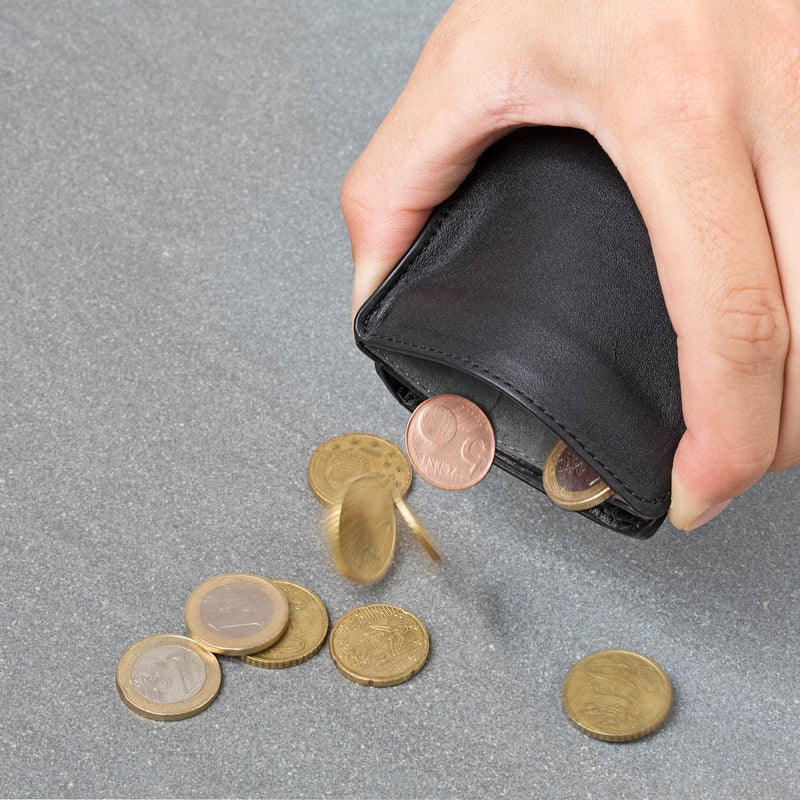 hands pinching flexlock coin pocket on a black wallet to remove coins