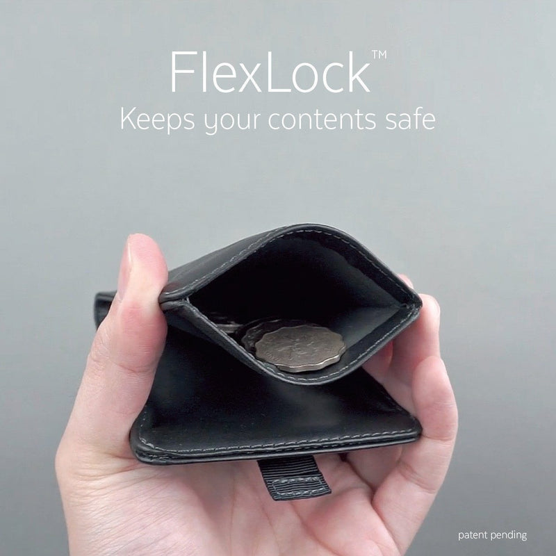 featuring flexlock with a hand pinching a wallet coin pocket open