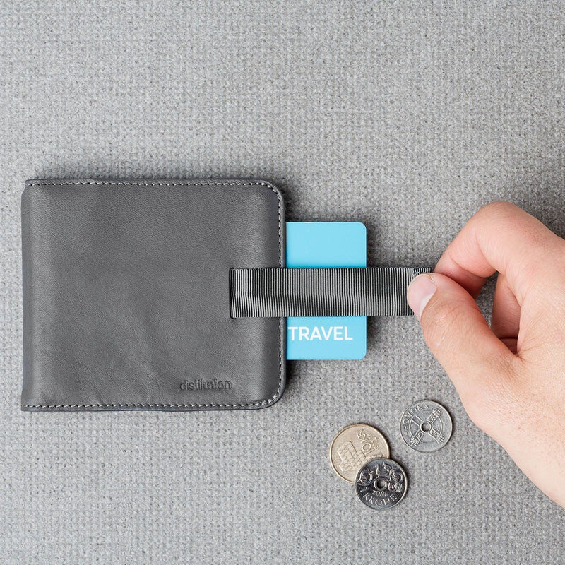 hand using pull-tab to extract brown card from slate leather wally euro travel wallet
