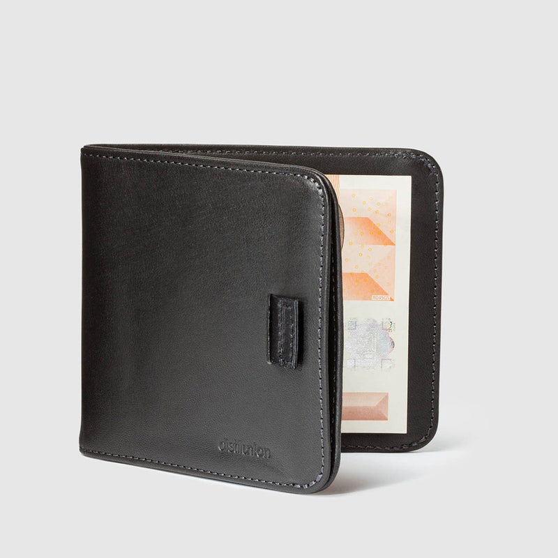 distil black leather bifold travel wallet half open with pull-tab