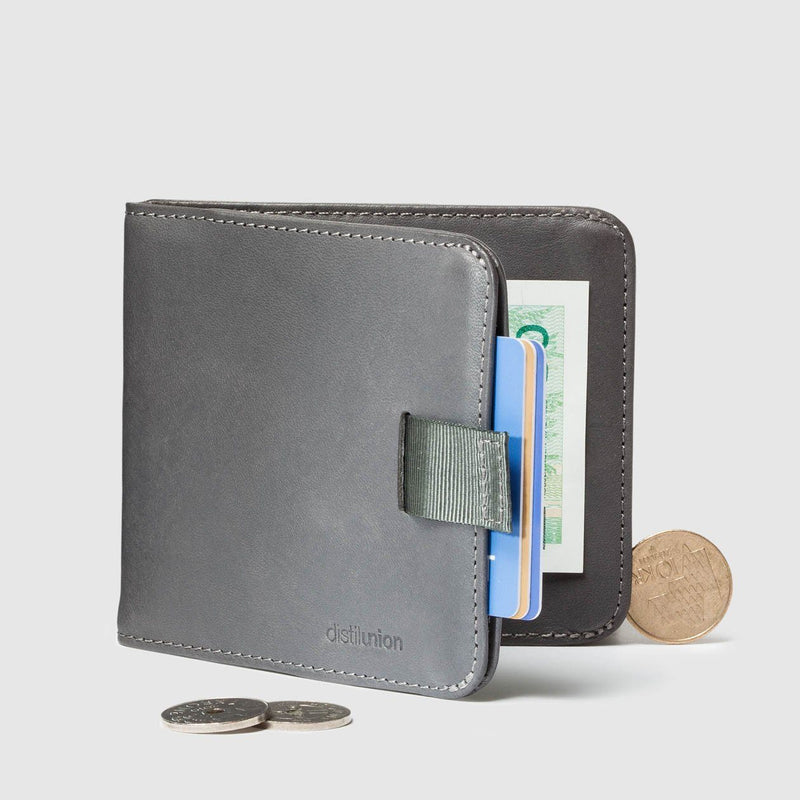 coins around distil hickory slate grey bifold travel wallet half open with pull-tab
