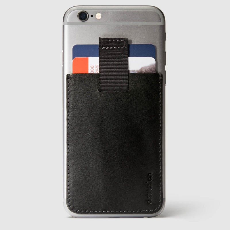 black leather wally junior stick-on attached to iphone with a pull-tab withdrawing cards