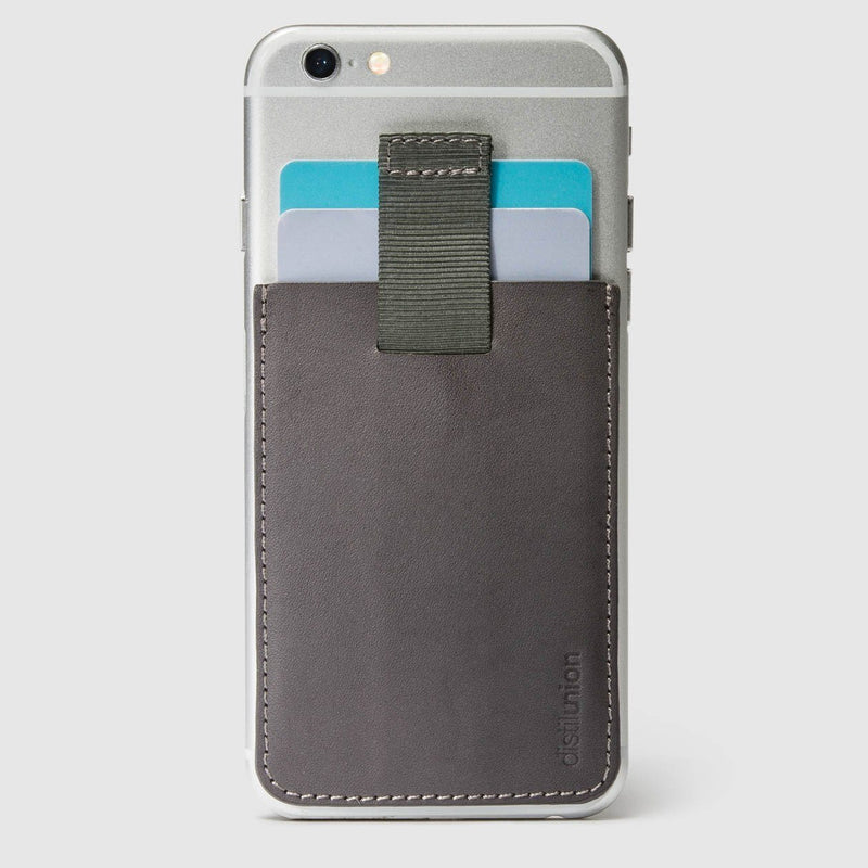 slate leather wally junior stick-on attached to iphone with a pull-tab withdrawing cards