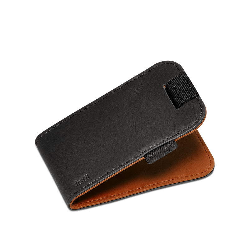 distil slim leather wally micro with pull-tab in reversible black or brown leather