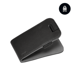distil black leather wally micro with pull-tab in reversible black or gray leather and RFID shielding