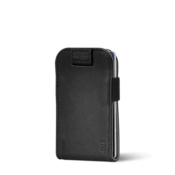 distil black leather wally micro wallet with pull-tab in reversible black or gray leather