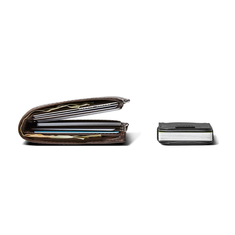 side-by-side comparison showing distil wally micro carrying ten cards is much slimmer than regular wallet