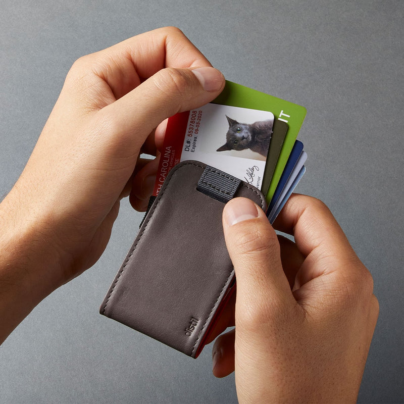 distil wally micro wallet shows your cards for easy access