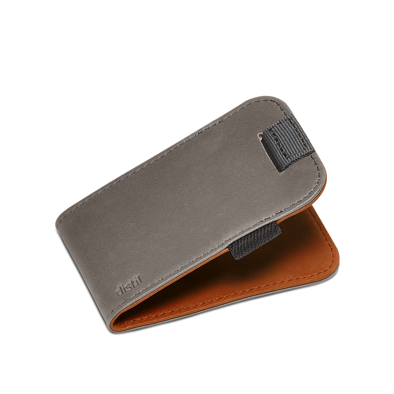 distil slim leather wally micro with pull-tab in reversible gray or brown leather