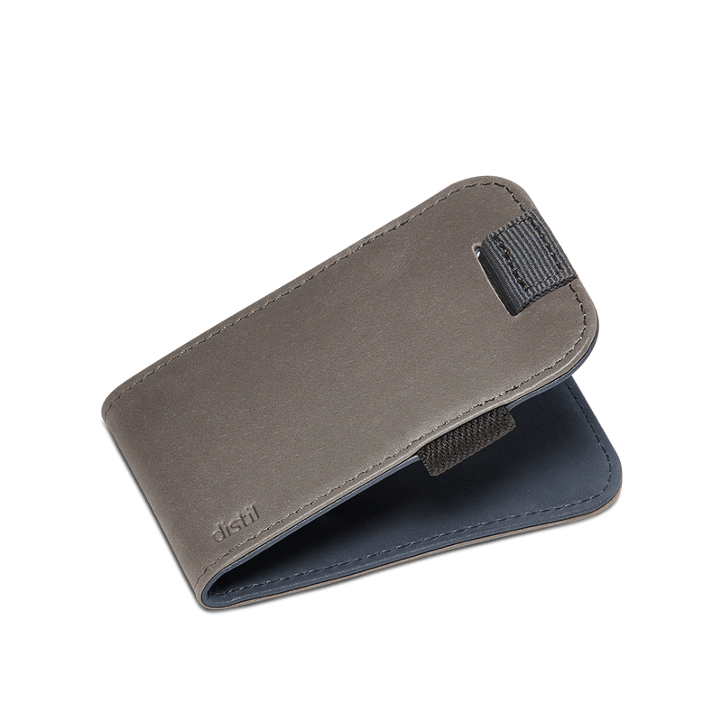 distil slim leather wally micro with pull-tab in reversible gray or navy leather