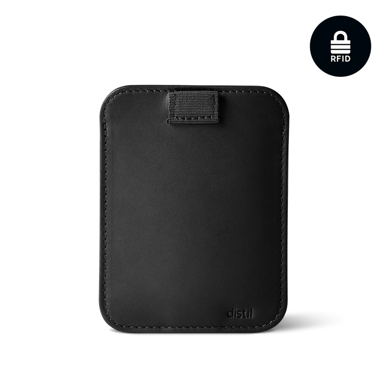distil wally sleeve in black leather and RFID shielding with black pulltab and snap shut enclosure