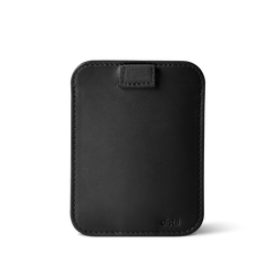 distil wally sleeve in black leather with black pulltab with snap shut enclosure