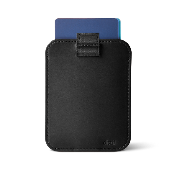 distil wally sleeve minimalist wallet in black leather with pull-tab withdrawing cards