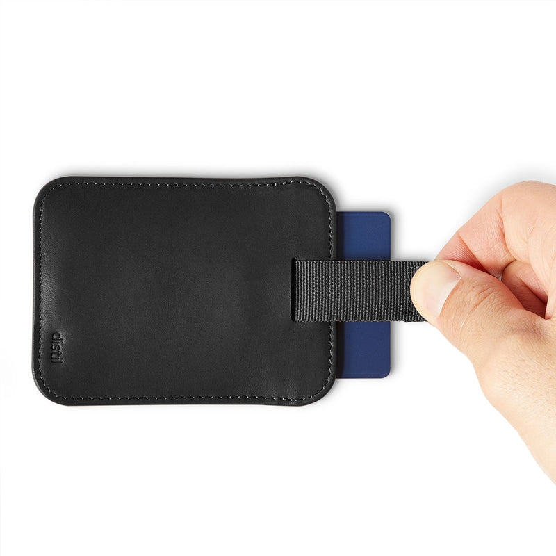 fingers using pull-tab to withdraw cards from black leather wally sleeve