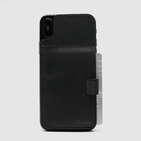 iphone x/xs wally stick-on made of black leather with black pull-tab withdrawing cards