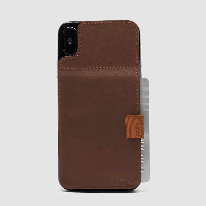 iphone x/xs wally stick-on made of brown leather with brown pull-tab withdrawing cards
