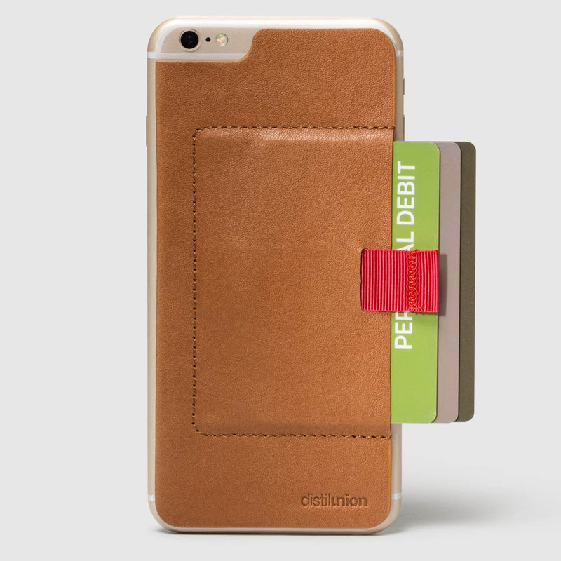 iphone 6/6s wally stick-on made of hickory leather with red pull-tab withdrawing cards
