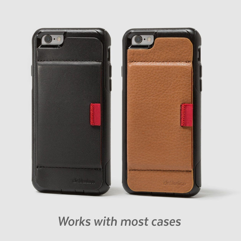 side by side wally stick-on in black and brown leather attached to iphone cases