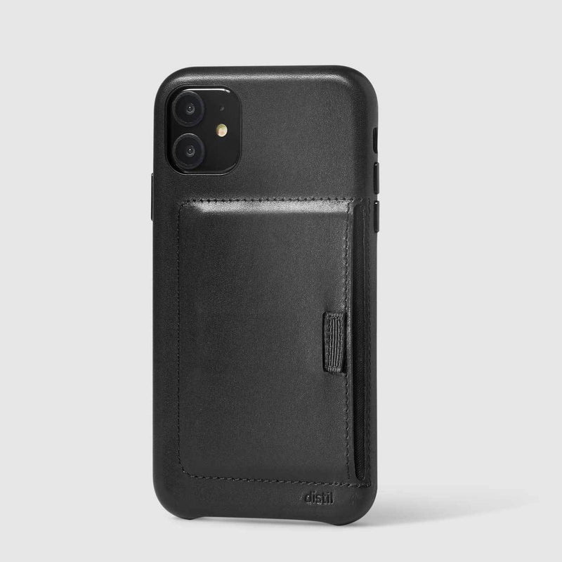 wally wallet case for iPhone 11 in black leather carries 3 cards